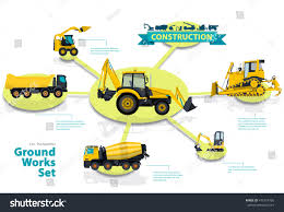 Construction Machinery Infographic Big Set Ground Stock Vector ...