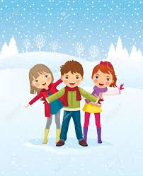 Winter Day Children Playing Outdoors Royalty Free Cliparts Vectors