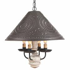 Large Punched Tin Lamp Shades by Wood And Punched Tin Pendant Light Country Ceiling Lamp U0026 Shade In