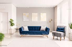 echtes foto einem geräumigen wohnzimmer interieur mit blauem sofa sessel und drei gemälde stockfoto und mehr bilder blau