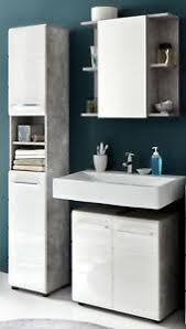 bad badezimmer set badmöbel in weiß hochglanz und grau