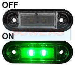 100 Truck Lite Cross Reference 12v24v Flush Fit Slim Green LED Marker LampLight Ideal For