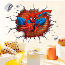 3D Spiderman Break Through The Wall Art Mural Decor Sticker Kids Boys Girls Room Decal Poster Classic Graphic
