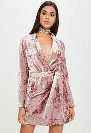 Carli Bybel Halloween by Carli Bybel X Missguided Pink Crushed Velvet Wrap Dress