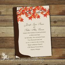 Classic Orange Maple Trees Rustic Wedding Invitations Iwi268 Country Invitation Wording