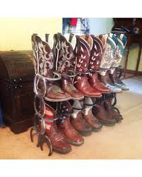 Rustic 6 Pair Double Row Boot Rack Made From Horseshoes