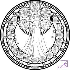 Elsa Stained Glass Line Art By Akili Amethystdeviantart On DeviantART Coloring BooksFrozen SheetsDisney