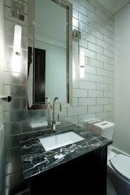 mirror tiles with tile wall powder room contemporary and