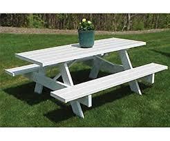 amazon com pvc picnic table 6ft white wood picnic bench