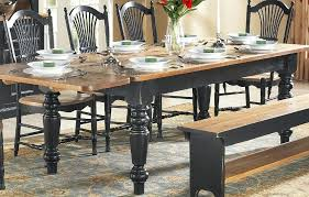 Farmhouse Table And Chairs Farm With 5 Inch Turned Legs Black Base Stained Pine