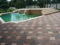pool deck travertine or brick pavers