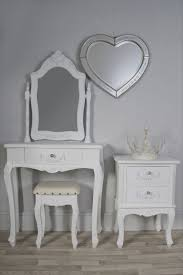 White Bedroom Vanity Set by Classy White Wooden Make Up Table And Silver Frame Heart Shape