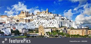 100 Beautiful White Houses Panorama Of Ostuni Town In Puglia Italy Photo