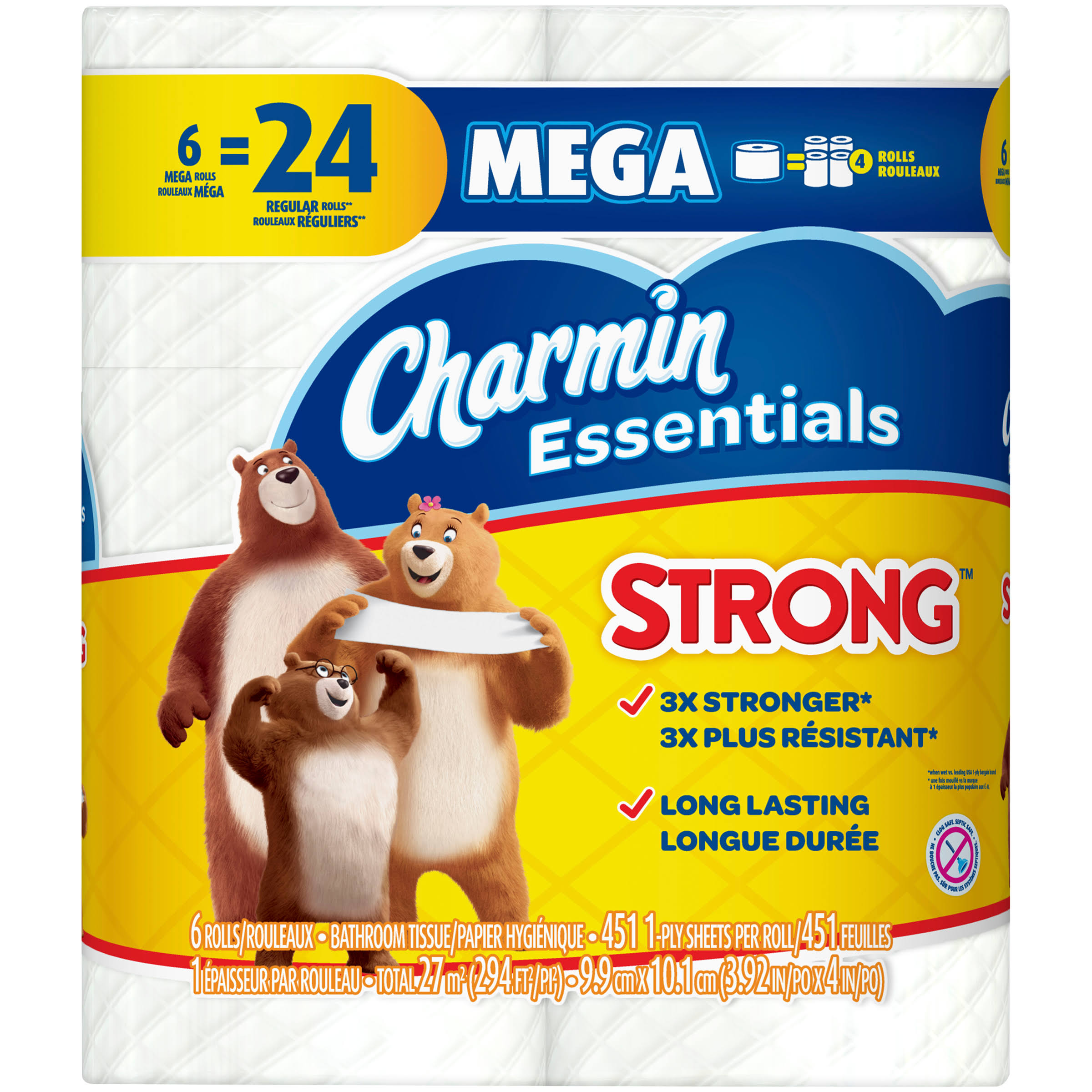 Charmin Essentials Strong Toilet Paper, Mega Rolls - 6 pack