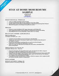 Stay At Home Mom Resume Examples Luxury Work From Sample Information