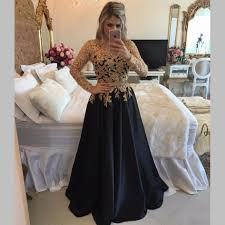 long sleeve black prom dresses with gold sequins top 2017