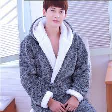 robe de chambre homme chaude peignoir hommes automne hiver épaississement chaud flanelle robe