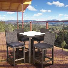 atlantic contemporary lifestyle monza square 5 piece patio bar set