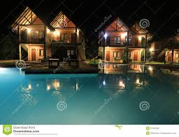 100 Photos Of Pool Houses Night Scene With Swimming And Stock Photo