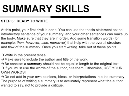 How To Write A Professional Summary For A Resume by Summary Writing Skills