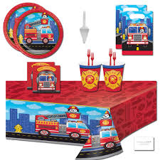 100 Fire Truck Plates Amazoncom Party Supplies Fighter Themed Birthday