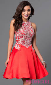 short high neck a line homecoming dress promgirl