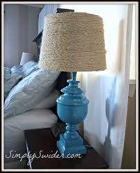 DIY Lampshade Made From Sisal Rope With A Teal Lamp
