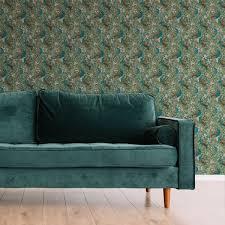 jugendstil vliestapete der pfauengarten in grün nach william morris ornamenttapete für wohnzimmer