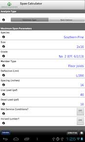 Floor Joist Span 2x10 by Awc Span Calc Android Apps On Google Play