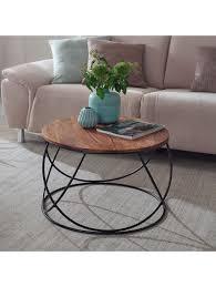 finebuy couchtisch sheesham massivholz metall 60 cm wohnzimmertisch rund massiv sofatisch modern holztisch klingel