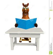 Fun Horse Cartoon Character With Books ;table And Chair Stock ...