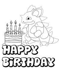 Birthday Pokemon Coloring Page