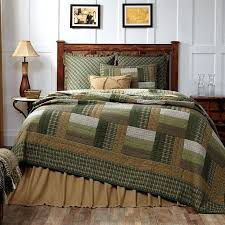 Country Bed Comforter Sets New Rustic Log Cabin Quilt Olive Green Tan Brown Queen Bedspread