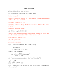 100 Ph Of 1 CHEM 02 Class 8 PH Calculations Strong Acids And Bases