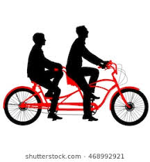 Silhouette Of Two Athletes On Tandem Bicycle Vector Illustration