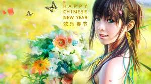 Beautiful Chinese Girl Painting Wallpaper For New Year Greeting