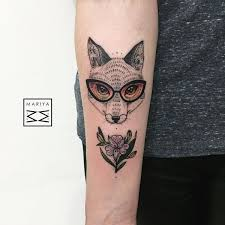 Funny Wolf With Glasses Tattoo On The Forearm