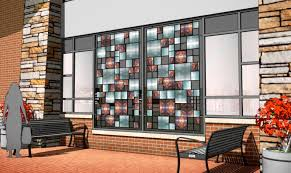 The Cast Recycled Glass And Steel Artwork Is Integrated Into Architectural Facade