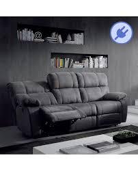 canap relax 3 places tissu canapé 3 places 2 assises relax électrique tissu nubuck