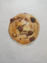 Food Illustration Chocolate Chip Cookie Painting Original Watercolor 7x7 Square Painting Dessert Illustration Beige Wall Art