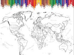 World Map Coloring Page Printable Scrapbook Size 12x12 Inches
