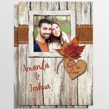 Rustic Fall In Love Photo Wedding Invitation