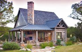 Small Rustic House Plans Rocking Chairs Pillars Roof Doors Window Stone Grass Fireplace Outdoor Area Wood