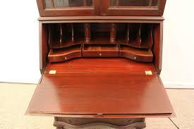 Drop Front Secretary Desk Antique by Vintage Chippendale Mahogany Bookcase Dresser Slanted Drop Front