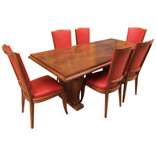 French Maxime Old Style Oak Table With 6 Chairs, 1940s