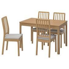 ekedalen ekedalen tisch und 4 stühle eiche orrsta hellgrau 120 180 cm