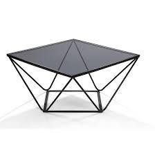 moderner couchtisch metall schwarz rauchglas 75x75x40cm 614