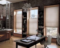 Ivory Home Office Top Down Bottom Up Shades For Windows On Rustic Brick Wall Design