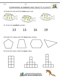 Printable Kindergarten Math Worksheets Comparing Numbers Objects 6