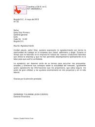 Carta Agradecimiento Dennisse Yulianna